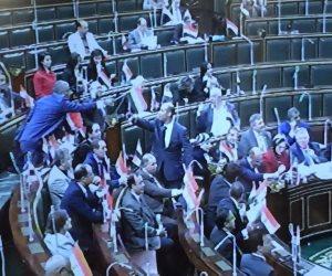 نواب البرلمان يرفعون علم مصر بالتزامن مع إعلان نتيجة الانتخابات الرئاسية (صور)