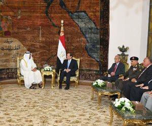 جلسة مباحثات ثانئية بين الرئيس وولي عهد أبو ظبي.. و«بن زايد» يهنئ الرئيس بالولاية الثانية (صور)