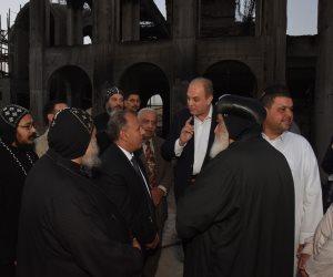 محافظ الإسكندرية يتفقد مكان الحريق بدير مارمينا بمريوط (صور)