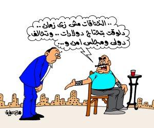 الأزمة السورية وخناقات الدول الكبرى في كاريكاتير صوت الأمة