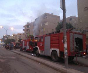 حريق هائل يلتهم محل موبيليا بأكتوبر.. والدفع بـ3 سيارات إطفاء (صور)