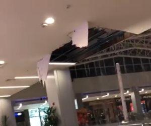 الأمطار تسبب فى سقوط سقف مول شهير بالتجمع (فيديو)