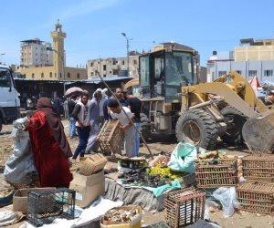 حملة لإزالة العشوائيات بالسوق القطاعي في بلطيم (صور)