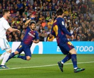 سواريز يسجل الهدف الأول لبرشلونة أمام ريال مدريد في كلاسيكو الأرض
