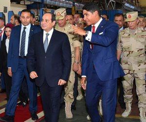 الرئيس يتفقد مصنع حديد المصريين ببني سويف (صور وفيديو)