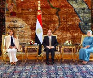 السيسي وقرينته يستقبلان ميلانيا ترامب في قصر الاتحادية (صور)