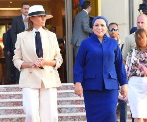 قرينة الرئيس السيسي تودع ميلانيا ترامب بمطار القاهرة الدولي (صور)
