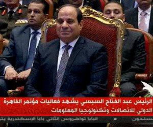 لافتتاح معرض ومؤتمر القاهرة الدولي للاتصالات.. الرئيس السيسي يصل مركز المنارة