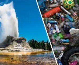 «يلوستون».. يقذف بالقمامة بدلا من الحمم البركانية (صور)