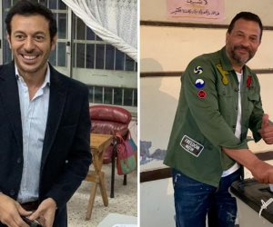 مصطفى شعبان وماجد المصري يدليان بصوتهما في الاستفتاء: مصر بتفرح (صور)