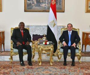 السيسى يستقبل رئيسى جنوب أفريقيا والصومال قبيل انطلاق قمة السودان وليبيا (صور)