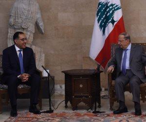 كل ما دار في لقاء الدكتور مصطفى مدبولي ورئيس لبنان ببيروت (صور)