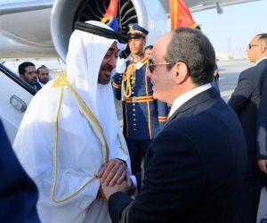 الرئيس السيسي يستقبل محمد بن زايد بمطار القاهرة (صور)