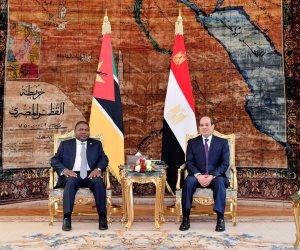الرئيس السيسى يستقبل رئيس جمهورية موزمبيق بالاتحادية