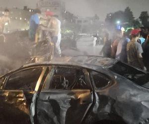 تطورات حادث الانفجار أمام معهد الأورام.. النيابة تشكل لجنة فنية لمعاينة السيارات المحترقة والمبنى