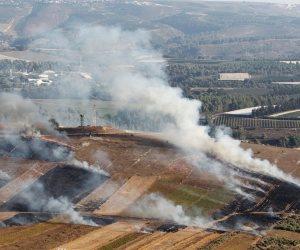 النيران تشتعل بمناطق المزروعات في أماكن القصف الإسرائيلي على جنوب لبنان