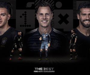 أليسون وإديريسون وشتيجن.. الفيفا يكشف القائمة النهائية للمرشحين للفوز بأفضل حارس لعام 2019