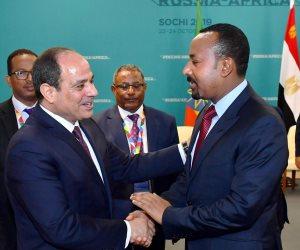 """السيسي لـ""""آبى أحمد"""": تحقيق التنمية في إثيوبيا ليس على حساب حقوقنا"""