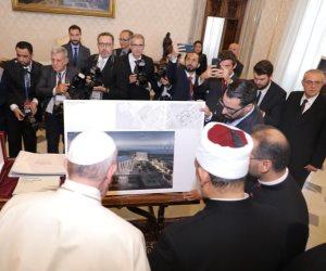 شيخ الأزهر وبابا الفاتيكان يلتقيان لجنة الأخوة الإنسانية ويستعرضان بيت العائلة الإبراهيمية