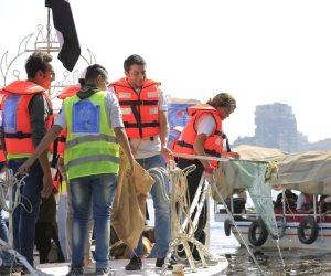 «شباب بتحب مصر» تنظف النيل بمشاركة 192 متطوعا وتجمع 1.5 طن مخلفات (صور)