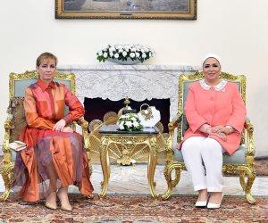 انتصار السيسى: سعدت باستقبال زوجة الرئيس المجرى فى زيارتها الأولى لمصر (صور)