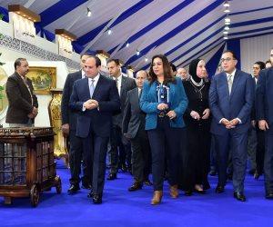 الرئيس السيسى خلال افتتاح مدينة الأثاث بدمياط: مصر زى الفل وتتحرك للأمام