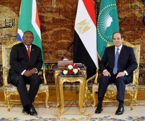 السيسى: مباحثاتى مع رئيس جنوب أفريقيا مثمرة..وسنرتقى بالعلاقات