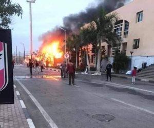 حريق بفرع النادي الأهلي في أكتوبر (فيديو وصور)