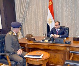الرئيس السيسى يستقبل الفريق أول محمد زكى وزير الدفاع