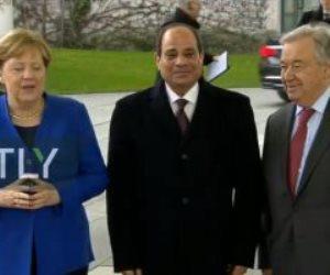 الرئيس السيسي يصل مقر انعقاد مؤتمر برلين حول الأزمة فى ليبيا