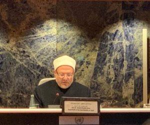 المفتي في مؤتمر جنيف: دعاة التطرف يستخدمون الشباب معولًا لهدم الأوطان وتأثير الإرهاب ينعكس على التنمية