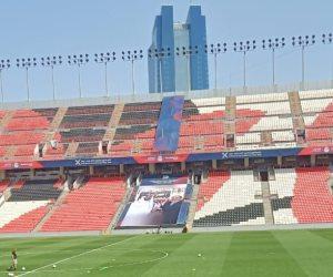 صورة السيسى ومحمد بن زايد تزين ملعب مباراة السوبر (فيديو وصور)
