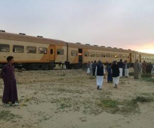 تفاصيل خروج قطار ركاب عن القضبان في طريقه إلى الضبعة عن القضبان