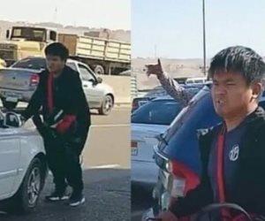 القبض على سائق واقعة التنمر على الشاب الصينى أعلى الطريق الدائرى
