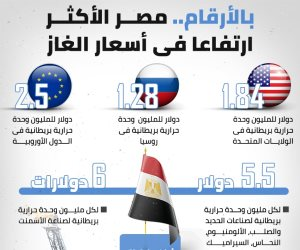 مصر الاكثر ارتفاعا فى أسعار الغاز للصناعة (أرقام)