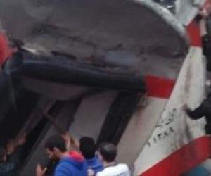 تصادم قطاري ركاب بخط الصعيد بين إمبابة ورمسيس ولا وفيات (صور)