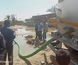رفع 2500 مترا من مياه الأمطار وإنهاء معاناة الأهالي  بقرية 6 أكتوبر شمال سيناء (صور)