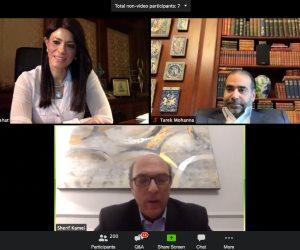 عبر الفديو كونفرانس.. اجتماع لوزيرة التعاون الدولي مع غرفة التجارة الأمريكية
