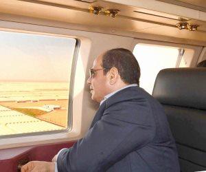 جواً.. السيسى يتفقد الموقف التنفيذي والانشائي لمدينة العلمين الجديدة