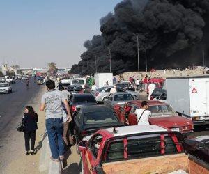 السيطرة على حريق بطريق الإسماعيلية وتحويلات مرورية بمحور جوزيف تيتو (صور وفيديو)