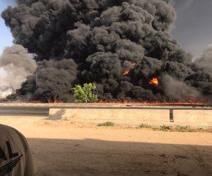 """آخر تطورات حادث حريق طريق الإسماعيلية.. """"شق في خط البترول أدى إلى الكارثة"""""""