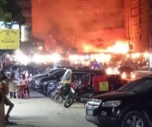 السيطرة على حريق ضخم بفندق تحت الإنشاء بالغردقة وإصابة 35 شخصا