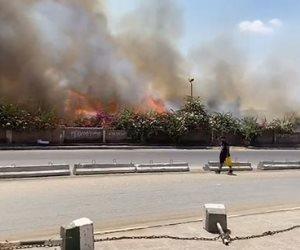 حريق فى ميدان الرماية وفرق الإطفاء تحاول السيطرة على النيران (صور وفيديو)