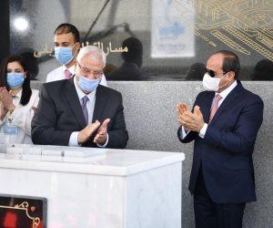 الرئيس السيسي يشهد وضع حجر الأساس لمحطة عدلى منصور التبادلية