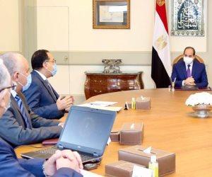 السيسي يبحث الموقف التنفيذي لمشروعات تنمية سيناء ويوجه بالإسراع فى تطوير وتأهيل منخفضات مفيض توشكى
