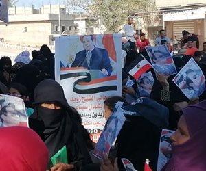 «أرض الفيروز وناسها».. حشود أهالي سيناء تحتفل بذكرى انتصارات أكتوبر ودعم الدولة والرئيس (صور وفيديو)