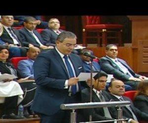 النائب طارق سعدة يؤدى اليمين الدستورية فى الجلسة الافتتاحية لمجلس الشيوخ