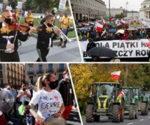 """تظاهرات بـ""""الحلل والجرارات"""".. احتجاجات كورونا تتواصل حول العالم اعتراضاً على عودة الإغلاق"""