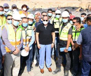 السيسى يتفقد مواقع العمل بمشروعات التطوير بشبكة الطرق فى القاهرة الكبرى (صور)