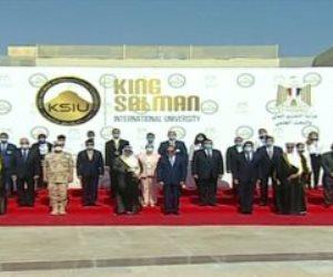 الرئيس السيسى والوفد السعودى يتلقطون صورة تذكارية داخل جامعة الملك سلمان